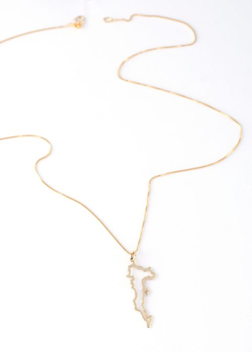 Gold 14 Carats Pendant with the island of Corfu