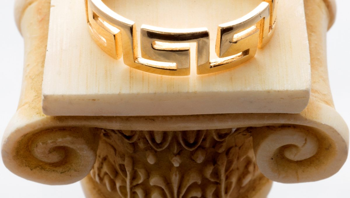 Gold 14 Carats all over ring with Greek Key