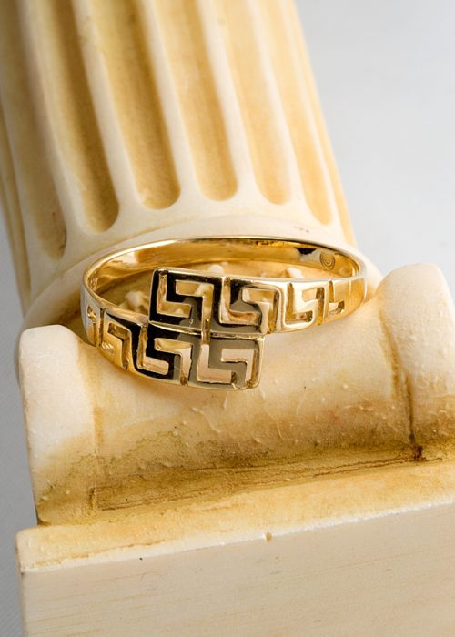 Gold 14 carats ring with the Greek key