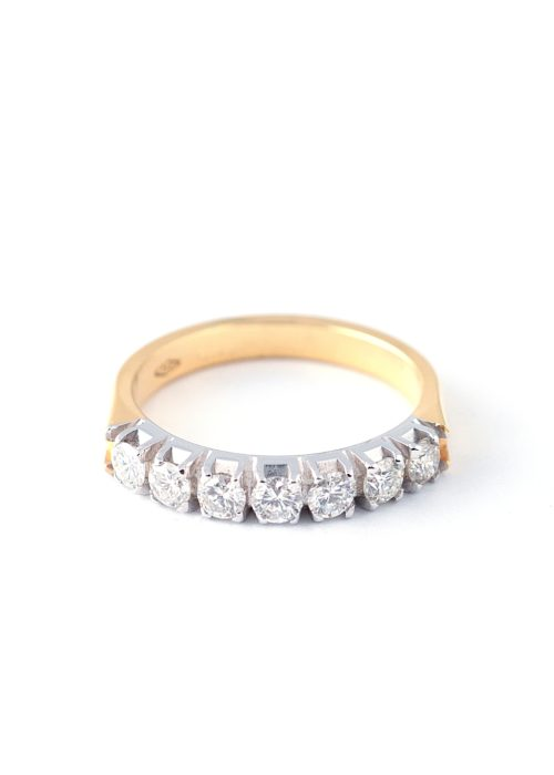 diamond set half eternity gold ring