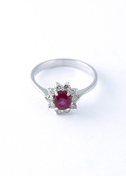 Ruby and diamond whitegold ring