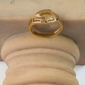 Χρυσό Δαχτυλίδι 14 καράτια με Ελληνικό Σχέδιο με Ματ Λεπτομέρειες