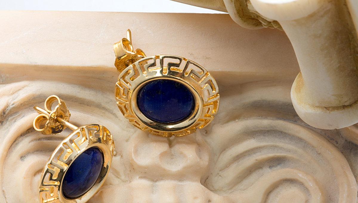 Greek style gold earrings