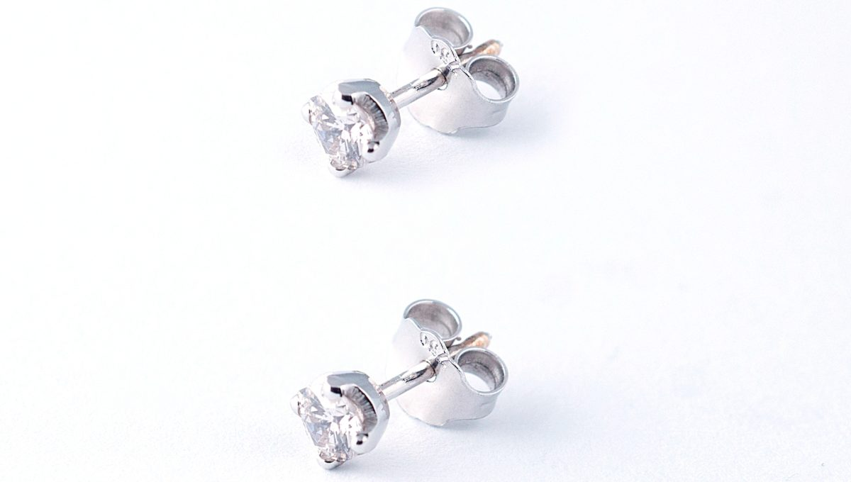 Round Diamond Stud whitegold Earrings