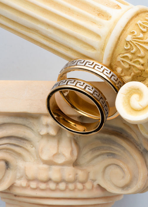GREEK DESIGN WEDDING BANDS